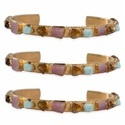 Nanplanetsilver Rough Gemstone Adjustable Cuff Bracelet
