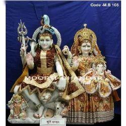 White Makrana Marble Gauri Shankar Statue
