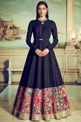 Indian Ethnic Designer Malai Satin Z Blue Party Wear Gown
