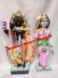 White And Black Marble Radha Krishna Statue