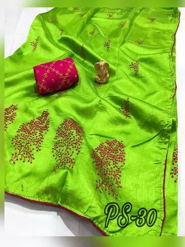 Sana Silk Embroidered Sarees, Length: 6.3 m with Blouse Piece