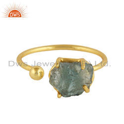 Handmade 18k Gold Plated 925 Silver Neon Apatite Gemstone Rings
