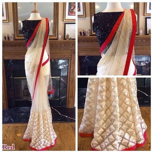 19e611b7a0 Rimzim Sequence Net Nylon Mono Saree, Machine Made, 6 m (with blouse piece