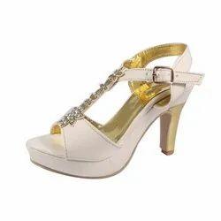 Klaxxyque Footwear Party Wear Ladies White High Heel Sandal, Size: 7-10