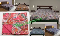Kantha Quilt Handmade Gudri Printed Bed Sheet