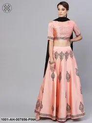 Pink Block Printed Lehenga Choli With Dupatta