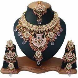 Multicolor Brass FNS-051G Light Pink Color Wedding Necklace Set