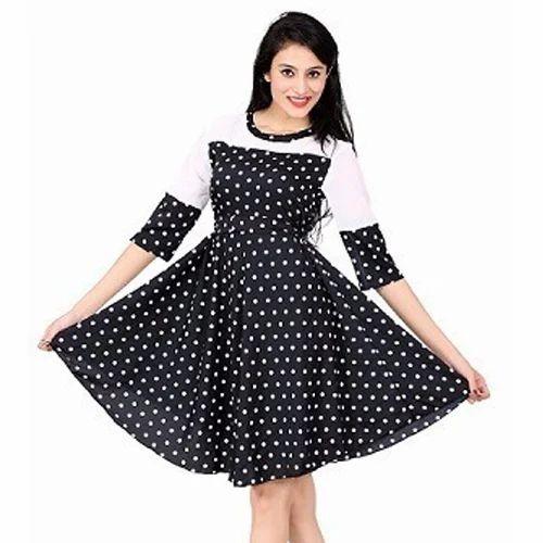 Branded Crepe Surplus Ladies Dotted Fancy Dress, Size: L