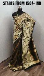 Satin Saree With Banarasi Silk Blouse