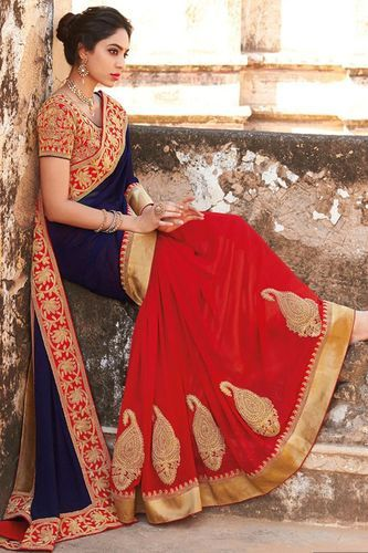 ddf66990d13 Navy Blue And Red Colour Half N Half Georgette Party Wear Saree