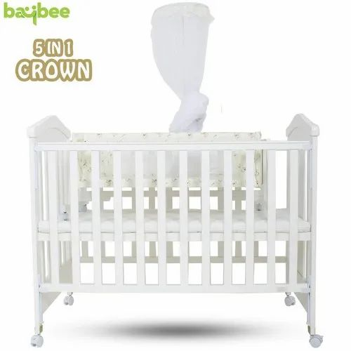 Baybee Crown Wooden Cradle For Babies, Crown Baby Crib Bedding