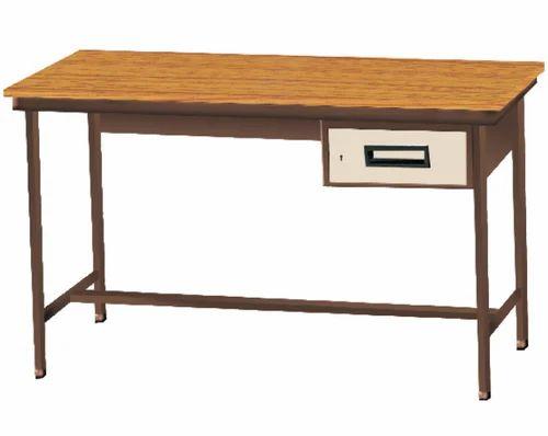 Rectangular Single Drawer Metal Table Sathya Corporation ID - Metal table with shelves