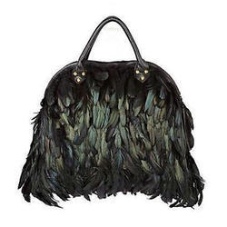 Leather Black Ladies Feather Hand Bag