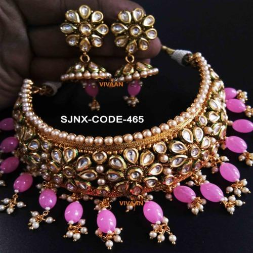 Traditional Pink Colour Beads Neck Fit Necklace Set For Women Jewellery