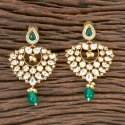 Brass Gold Plated Kundan Chand Earring 300274