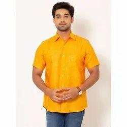 Rock Men Mustard Yellow Half Sleeves LINEN Shirt, Hand-wash & laundry iron