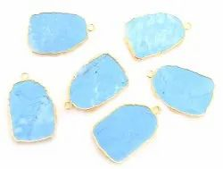 Turquoise Uneven Shape Gold Plated Pendant