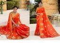 Dark Orange Weaving Silk Saree With Light Orange Blouse AFS112 - 4752