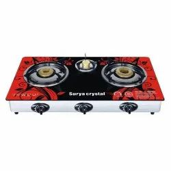 Surya Crystal 3 Burner Glass Top Gas Stove for Kitchen