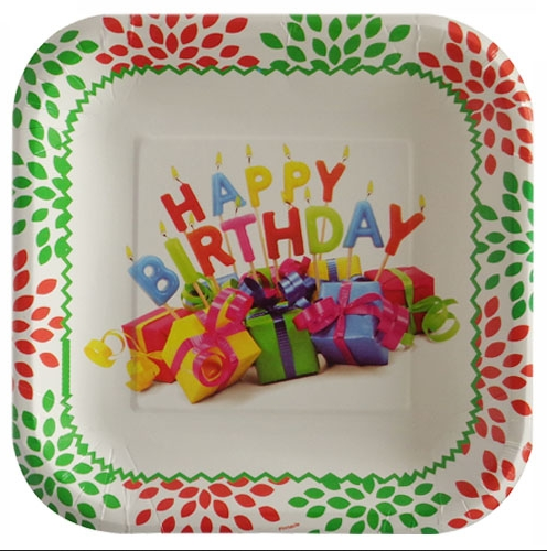 Birthday Gift Theme Square Dessert Plate