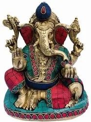 Brass Handicrafts Ganesha Statue Stone God Idol Sculpture