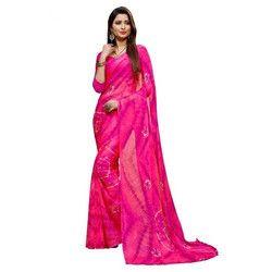 Magenta Bandhani Saree