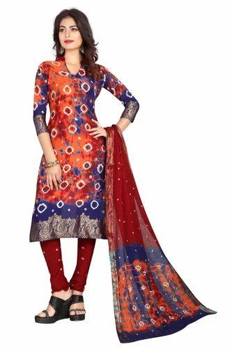 2772611064 Cotton Orange Batik Bandhani Salwar Suit Dupatta Material, Rs 500 /1 ...