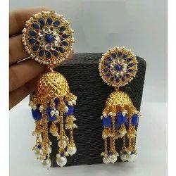 Golden Brass Designer Earrings