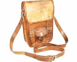 Vertical Leather Messenger Bag