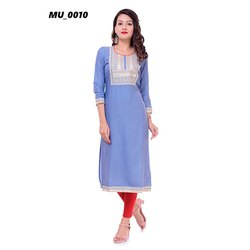 A-Line Sky Blue Ladies Kurti