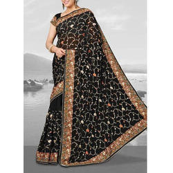 Party Wear Embroidered Silk Saree