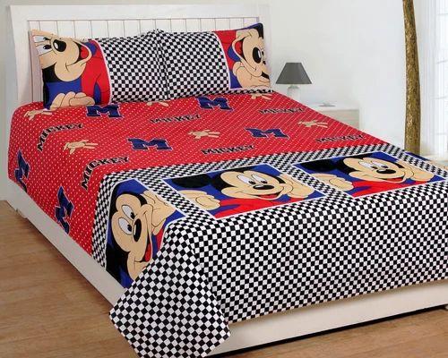 Single Cotton Cartoon Printed Bedsheet