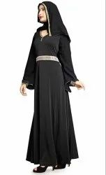 Women's Diamond Lace Work Lycra Abaya Burqa With Dupatta