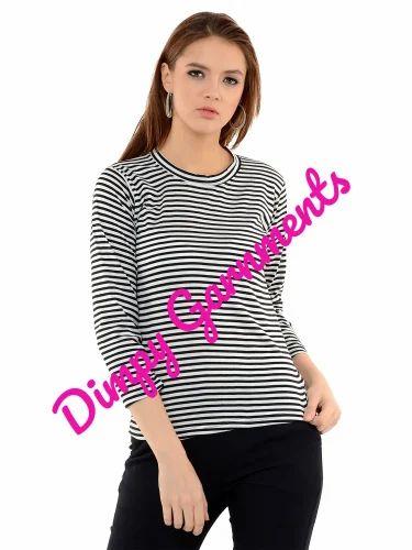 9043edc64f7fd7 Hosiery Lycra Full Sleeve Black   White Striped Top For Women