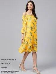 Women's Yellow Floral Off-Shoulder Bardot Dress