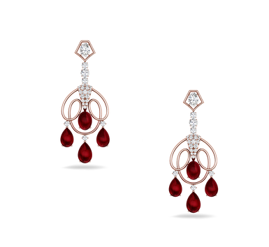39a6ac8d2 Rich Red Diamond Beauty Earrings, Noor - Kirtilal Kalidas & Co ...