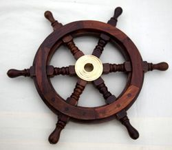 Nautical Decor Wood Boat Ship Wheel Home Ornament Photography Prop