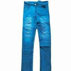 Blue Button, Zip Mens Casual Wear Damage Denim Jeans, Waist Size: 30