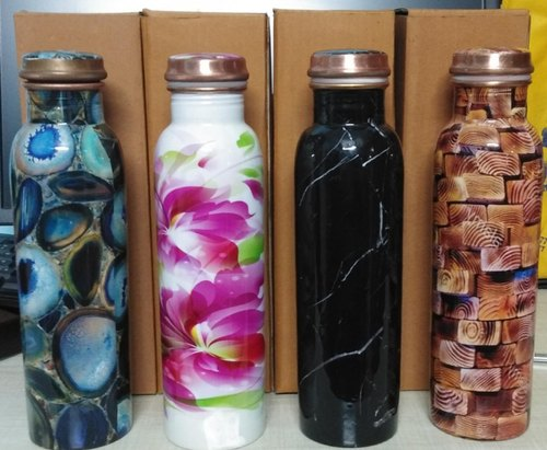Elite Screw Cap Designed Mina Copper Water Bottles, Packaging Type: Cotton Box