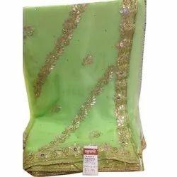 Party Wear Green and Golden Fancy Gota Work Chiffon Saree, Length: 5.5 m