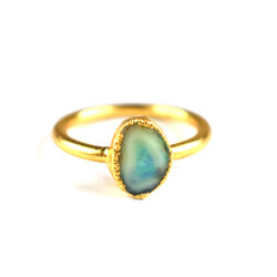 Fire Opal Faceted Gemstone Gold Plated Ring