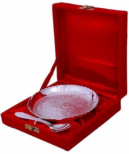 Brass Wedding Gift Silver Plated Platter, For Gift,Daily Use, Packaging Type: Red Velvet Box