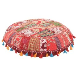 Embroidered Indian Vintage Home Decor Cotton Round Floor Cushions 32 Inches