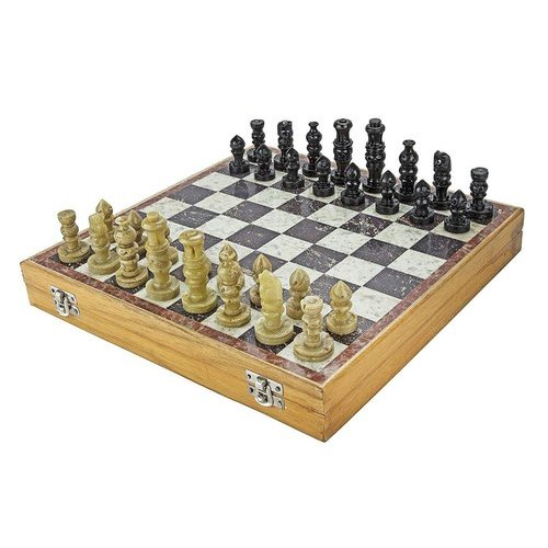 Brown Handicraft Marble Chess Set, 6X6 Inch, Square