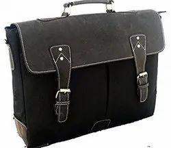 Black Plain Canvas Laptop Messenger Bag, Pure Leather: Yes
