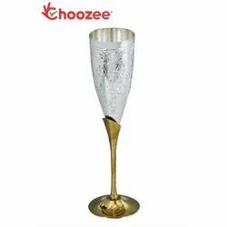 Wine Glass - 2 Pcs Brass, Silver Plated