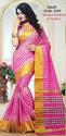 Pink With Golden Printed Cotton Saree