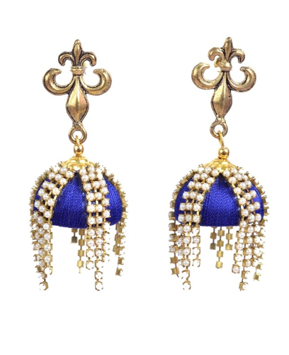 829960a3884 Blue Silk Thread Golden Stud Drop Earrings With Pearl Chain
