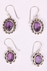 Purple Oval Shape Earring