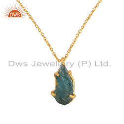 Prong Set Rough Apatite Gemstone Gold Plated Silver Pendant Necklace Jewelry